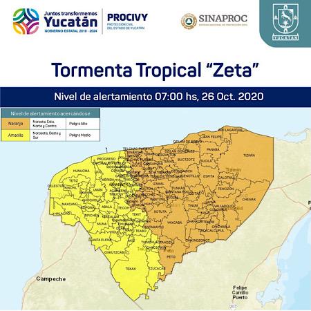 """Photo of Emiten Alerta Naranja, para más de la mitad de Yucatán por TT """"Zeta"""""""