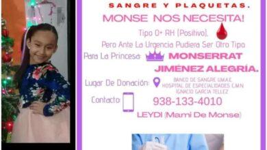Photo of Monse necesita donadores de sangre y plaquetas