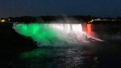 Photo of Iluminan las Cataratas del Niágara con colores de la bandera de México