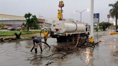 Photo of Desagüe de calles inundadas y árboles caídos, algunas afectaciones por las lluvias en Mérida