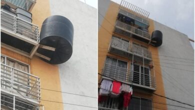 Photo of Cuelgan tinaco en balcón de Iztacalco; vecinos advierten peligro